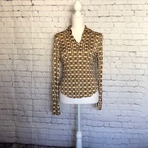 Tahari Brown and Tan Button Down Top Size Small